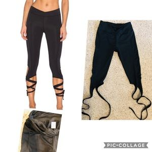 Black ancle strap wrap leggings